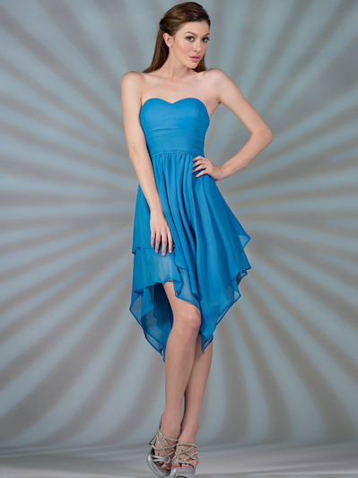 C7789 Layered Cocktail Dresses - Turquoise, Front View Medium