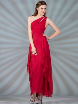 C7799 One Shoulder Chiffon Evening Dress, Red