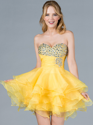 C786 Yellow Jeweled Layered Party Dress, Yellow