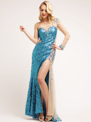 Sexy Blue Sequin Sweetheart Evening Dress