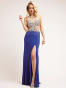 Jeweled Illusion Bodice Evening Dress