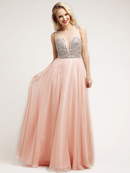 Colorful Beaded Bodice Deep-Sweetheart Prom  Dress
