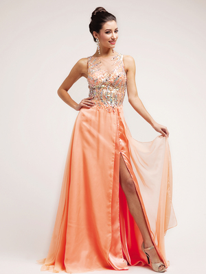 C7922 Peach Sequin V-Neck Prom Dress, Peach