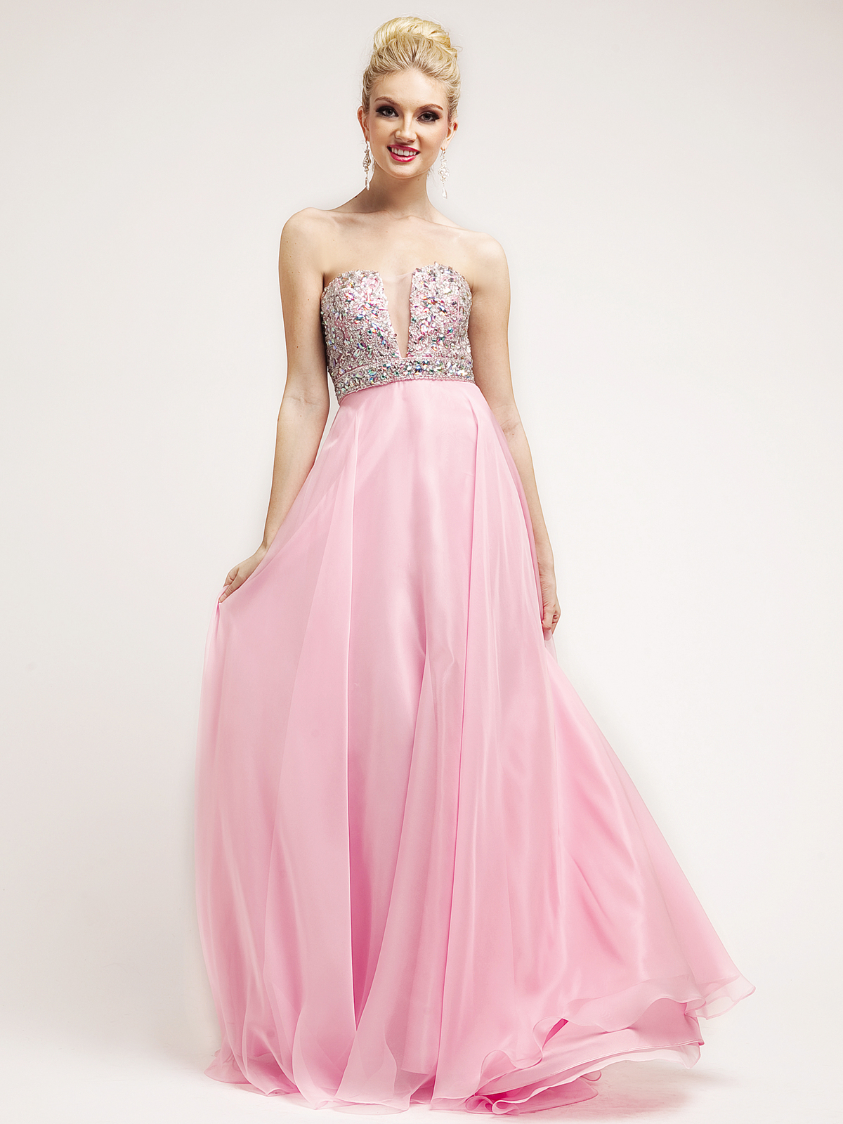 Baby Pink Beaded Deep V-Neckline Empire Waist Prom Dress - Sung ...