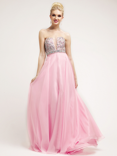 C7925 Baby Pink Beaded Deep V-Neckline Empire Waist Prom Dress - Baby Pink, Front View Medium