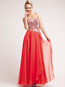 Coral Rectangular Round Jewels Sweetheart Prom Dress
