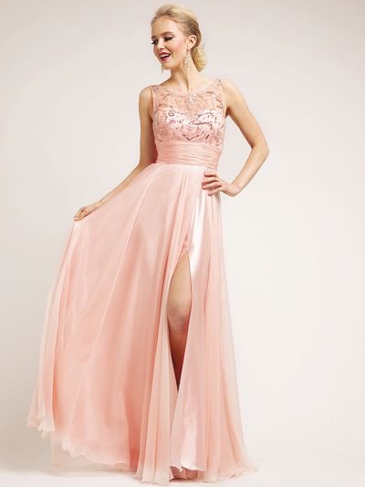 C7929 Blush Sleeveless Lace Ruche-Band Waist Side Split Evening Dress - Blush, Front View Medium