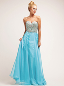 Jeweled Turquoise Sweetheart Organza Layered Evening Dress