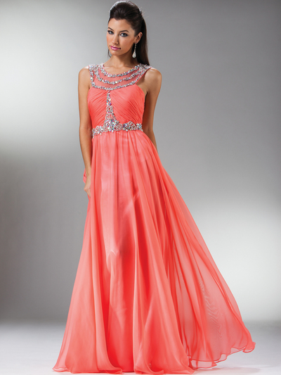 C7935 Jewel Lined Ruche Sheer Bodice Evening Dress - Coral, Front View Medium