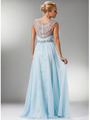 C7935 Jewel Lined Ruche Sheer Bodice Evening Dress - Light Blue, Back View Thumbnail