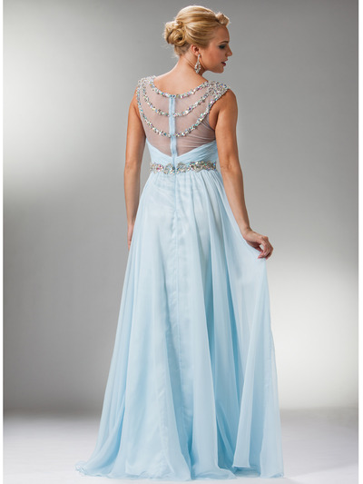 C7935 Jewel Lined Ruche Sheer Bodice Evening Dress - Light Blue, Back View Medium