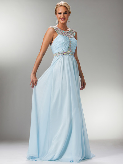 C7935 Jewel Lined Ruche Sheer Bodice Evening Dress - Light Blue, Front View Medium