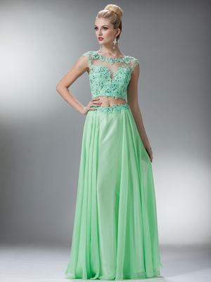 C7942 Perfect Lace Prom Dress, Mint Green