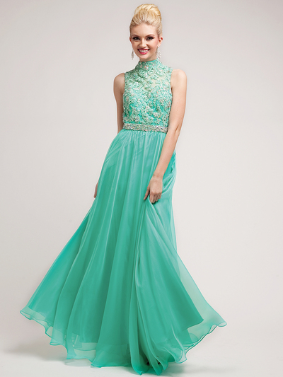C7952 High Neck Prom Dress - Jade, Front View Medium