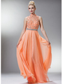 C7952 High Neck Prom Dress - Peach, Front View Thumbnail