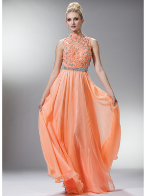 C7952 High Neck Prom Dress, Peach