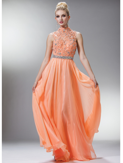 C7952 High Neck Prom Dress - Peach, Front View Medium