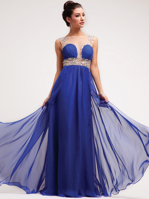 C7956 Illusion Neckline Evening Dress, Royal
