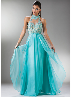 C7958 Illusion Halter Prom Dress, Aqua Nude