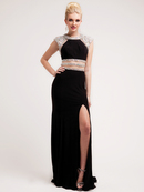 Chiffon and Rhinestone Cut-out Evening Dress