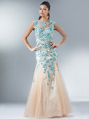 Illusion Neckline Open Back Mermaid Prom Gown