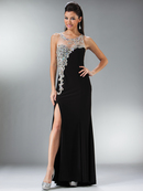 Cascading Illusion Sweetheart Neckline Evening Dress