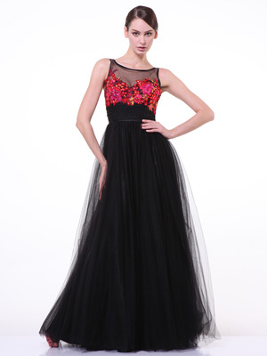 C7969 Embrodiery Floral Bodice Prom Dress, Black