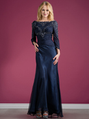 Long Sleeve Beaded Evening Dress