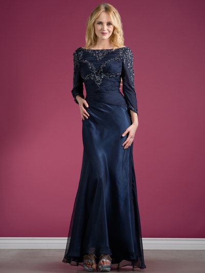 C7995 Long Sleeve Beaded Evening Dress - Navy, Front View Medium