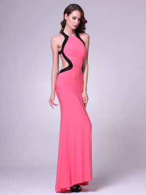 C8110 High Neck Prom Dress with Open Back, Coral