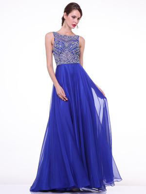 C81247 Sleeveless Embroidery Long Prom Dress, Royal