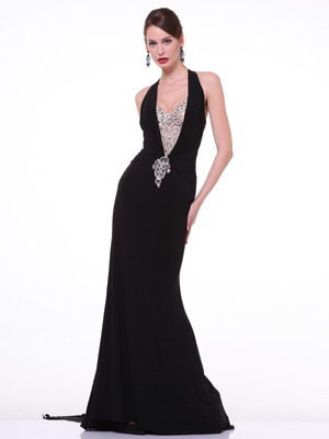 C81480 Halther Neck Evening Dress with Train, Black
