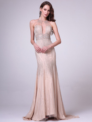 C8704 Strapless Sweetheart Lace Overlay Cocktail Dress, Champagne
