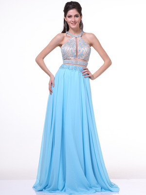 C8705 Two Piece Prom Dress, Sky Blue