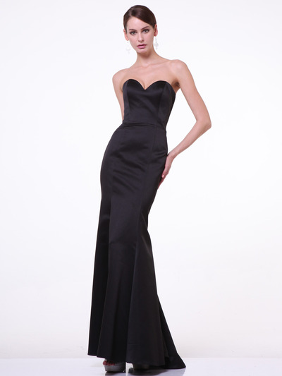C8792 Strapless Sweetheart Mermaid Gown - Black, Front View Medium