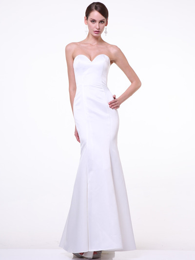 C8792 Strapless Sweetheart Mermaid Gown - Off White, Front View Medium