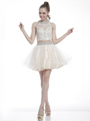 C8798 Two-Piece Embellished Homecoming Dress, Champagne