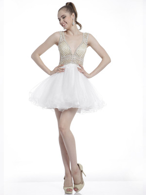 C8801 Beaded Bodice V-Neck Homecoming Dress, Cream