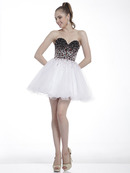 C8805 Black White Sweetheart Homecoming Dress, Black White