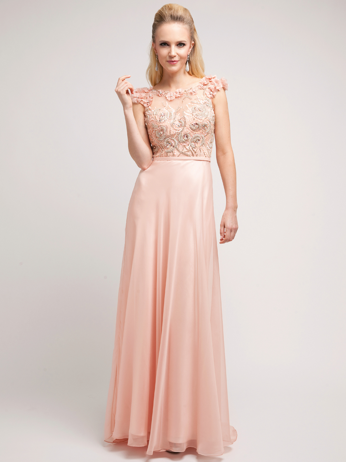 C8889 modern sleeveless mother of the bride dress blush front view