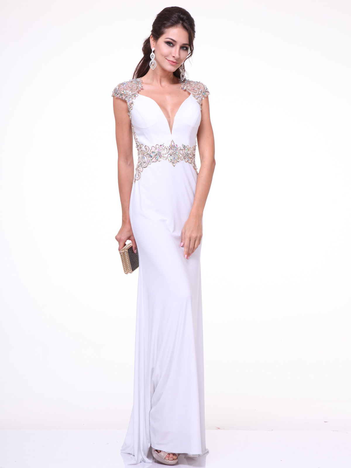 Embroidery Cap Sleeve Formal Dress With Plunging Neckline Sung