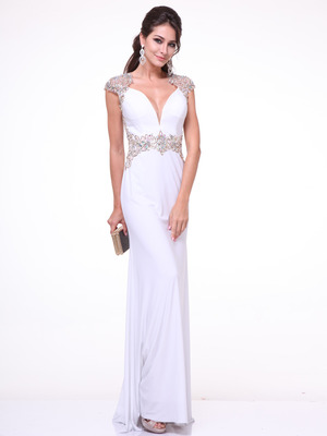 C8901 Embroidery Cap Sleeve Formal Dress with Plunging Neckline, Ivory Gold