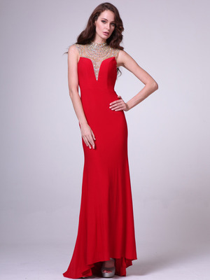 C8904 Jeweled High Neck Backless Long Prom Dress, Red