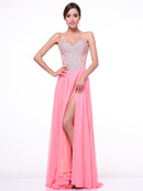 C90344 Strapless Sweetheart Evening Dress with Slit, Salmon