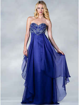 C9182 Beaded Chiffon Prom Dress, Royal