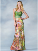 Green and Print Prom Dress
