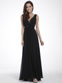 C958 Encrusted V Neck Evening Dress - Black, Front View Thumbnail
