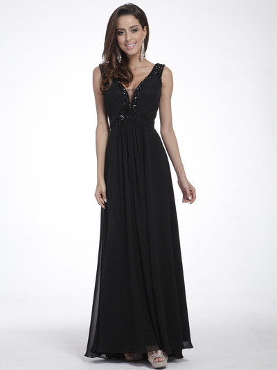 C958 Encrusted V Neck Evening Dress - Black, Front View Medium