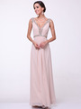 C958 Encrusted V Neck Evening Dress - Champagne, Front View Thumbnail