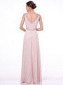 C958 Encrusted V Neck Evening Dress - Champagne, Back View Thumbnail